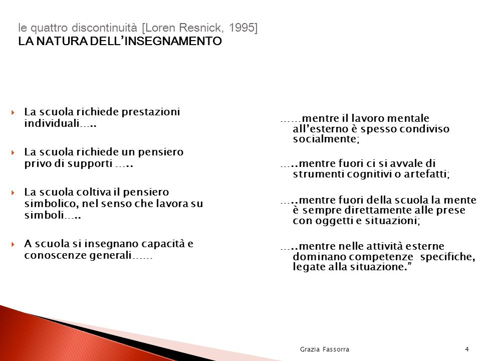 le quattro discontinuità [Loren Resnick, 1995] LA NATURA DELL'INSEGNAMENTO